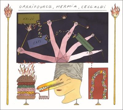 Darrifourqc, Hermia, Ceccaldi Kaiju eats Cheeseburgers Album Cover